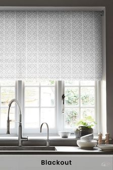 White Tile Print Blackout Roller Blind