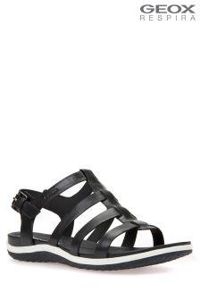 Geox Vega Black Flat Sandal