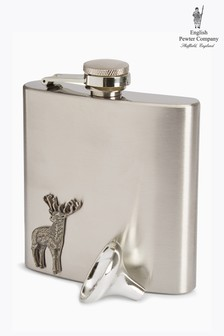 English Pewter Company 6oz Hip Flask With Stag Emblem
