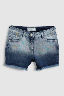 Denim Paint Splat Shorts (3-16yrs)