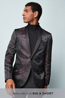 Rose Pattern Jacquard Slim Fit Tuxedo Jacket