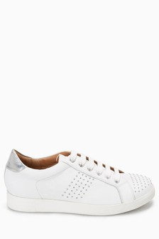 Next White Signature Leather Lace-up Casual Sneakers shop cheap price clearance recommend cbClV