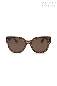 Oliver Bonas Brown Preppy Round Sunglasses