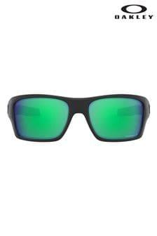 Солнцезащитные очки в черной оправе с зелеными стеклами Oakley® Turbine