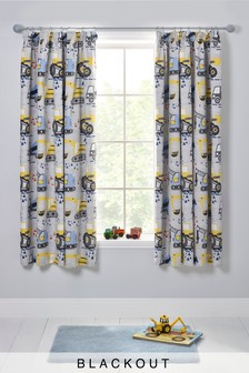 Trucks And Diggers Blackout Pencil Pleat Curtains