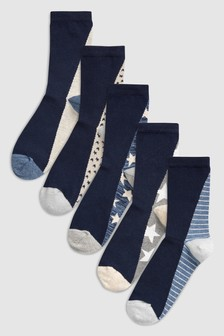 Star Footbed Ankle Socks Five Pack