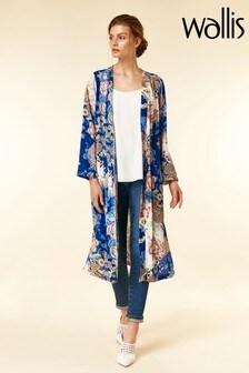 Wallis Blue Oriental Paisley Longline Jacket