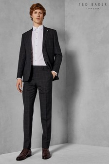 Ted Baker Charcoal Zemla Sovereign Windowpane Suit Trouser