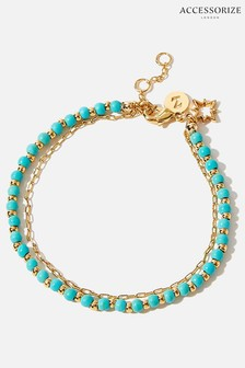 Accessorize Gold-Plated Turquoise Bead Bracelet