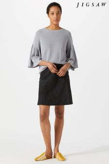 Jigsaw Grey Suede Fluted Skirt