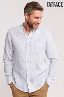 FatFace Blue Linen Fine Stripe Shirt