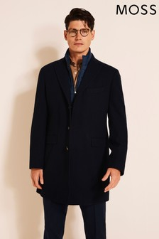 Moss 1851 Navy Tailored Fit Epsom With Insert Overcoat