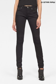 G-Star Mid Skinny-Jeans in Rinse-Waschung, Schwarz
