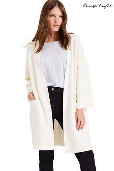 Phase Eight White Cara Knitted Coatigan