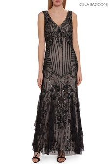 Gina Bacconi Black Jamila Beaded Maxi Dress