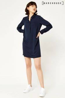Warehouse Navy Popper Detail Shirt Dress
