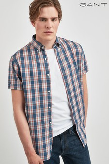 GANT Mens Tech Prep Indigo Check Short Sleeve Shirt