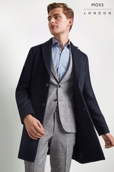 Moss London Slim Fit Navy With Green Double Face Overcoat