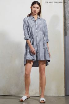 French Connection Blue Stripe Drawstring Dress