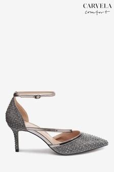 Carvela Pewter Kym Diamanté Strap Heels