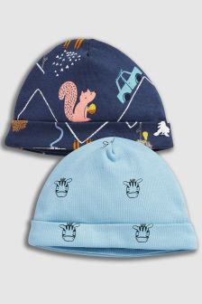 Woodland Character Beanie Hats Two Pack (0-18mths)