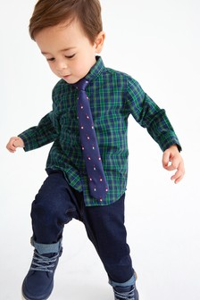 Check Shirt And Tie Set (3mths-7yrs)