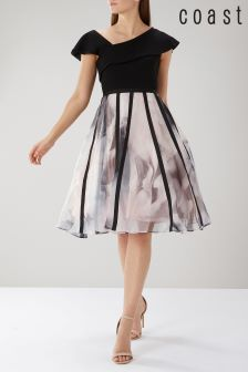 Coast Black Maude Print Organza Dress