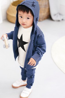 Star All Over Print Zip Through, T-Shirt And Jogger Set (3mths-6yrs)