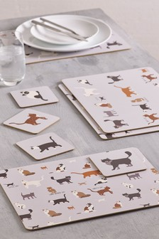 Set of 4 Cat Placemats And Coasters
