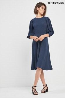 Tmavě modré midi šaty se zvířecím potiskem Whistles