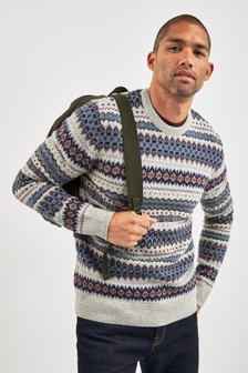 Barbour® Grey Case Fairisle Pattern Crew Jumper