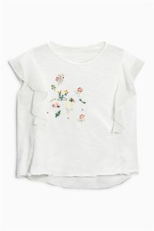 Sequin Flower T-Shirt With Ruffle Sleeves (3-16yrs)