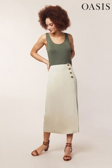 Oasis Natural Side Button Skirt