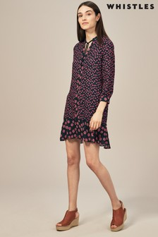 Whistles Pink Isabella Print Shirt Dress