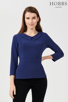 Hobbs Blue Laurie Collared Top