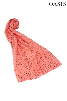 Oasis Coral Heart Flocked Scarf