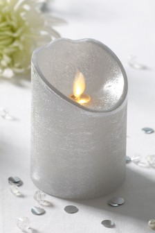 Real Wax Silver LED Candle