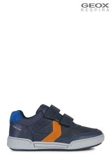 Geox Junior Boy/Unisex's Poseido Navy/Orange Velcro Sneakers