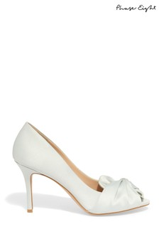Phase Eight Duck Egg Alice Satin Bow Peep Toe Shoe