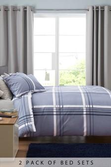 2-elementowy zestaw niebieskiej pościeli w kratkę i paski: poszwa na kołdrę i poszewki na poduszki