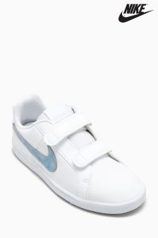 Nike White/Blue Court Royale Velcro