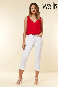 Wallis White Cotton Stretch Crop Trouser