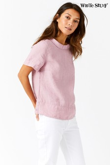 White Stuff Pink Layla Linen Top
