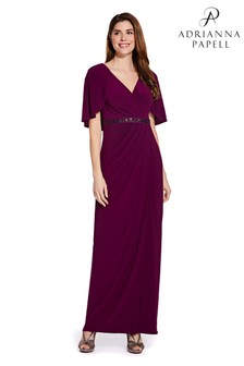 Adrianna Papell Purple Long Draped Jersey Dress