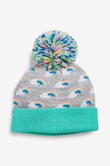 671176d2d20ae Rainbow Knit Pom Beanie Hat (Younger)