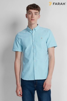 Farah Turquoise Green Brewer Slim Fit Shirt