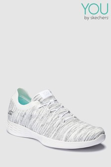 Skechers® White Heather Bungee Shoe With Knit Collar