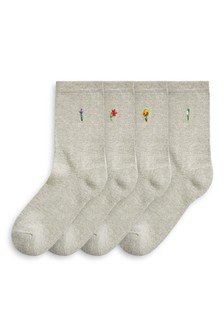 Motif Cushioned Sole Ankle Socks Four Pack