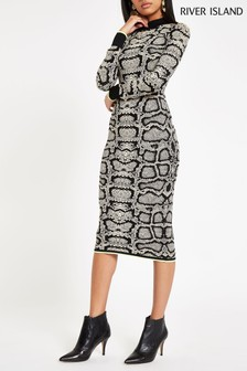 River Island Cream Snake Print Midi Dress