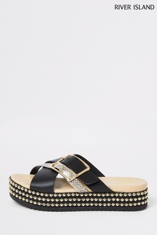 River Island Black Beaded Platform Sandal